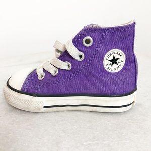 Baby chuck Taylor converse high top purple sz 4